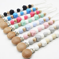 Baby BPA Free Silicone Beads Pacifier Clips Soother Chain Holder Wood Dummy Clip