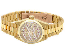 Ladies 26 MM Rolex President Datejust 18K Yellow Gold 69178 Diamond Watch 1 Ct