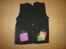 Womens UGLY CHRISTMAS SWEATER button up vest sz L Lg Holday Faire