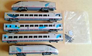 Ho scale Bachmann Acela Locomotives and coaches lot.
