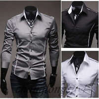 Mens Dress Shirts Long Sleeves Luxury Casual Slim Fit Multicolor Camisas TC6079
