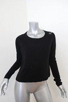 Joie Lace-Back Sweater Matrika Black Wool-Blend Size Small Scoop Neck Pullover