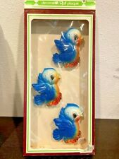 Vtg Chalk ware Miller Studios 1970 3pc Blue Bird Chalkware Plaque W/ Box-Exc
