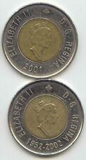Canada 2001 & 1952-2002 Toonies Canadian $2 Dollars 2001 & 1952 - 2002 EXACT SET