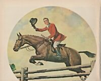 1947 Hunter Fine Blended Whiskey Print Ad Horse Jumping Fence First Over The Bar