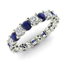 2.03 Ct Natural Diamond Blue Sapphire Eternity Band 950 Platinum Ring Size M N O