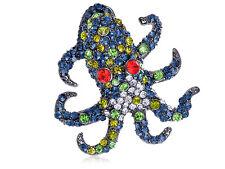Vintage Blue Sea Animal Octopus Monster Crystal Rhinestone Costume Pin Brooch