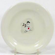 """Williams-Sonoma SNOWMAN 6"""" Dessert Plate Red Purse Holly Berry Hat Christmas"""
