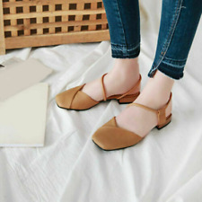 Women's Slingback Low Heel One-Line Strap Sandals Square Toe Slip On Flats Shoes