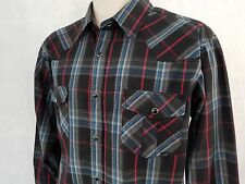 Coastal Western Ranch Mens Shirt Size L Black Red Blue Checkered - Pearl Snaps