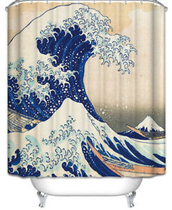 The Great Wave Fabric Shower Curtain 70x70 Oriental Vintage Look Nautical Ocean