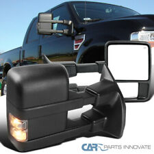 For 99-15 F250 F350 Super Duty Power Heated Tow Side Mirrors+Smoke Signal Lamps