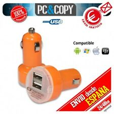 Pack 5 cargadores dual mechero coche para movil 2.1A-1A doble USB naranja 12-24v