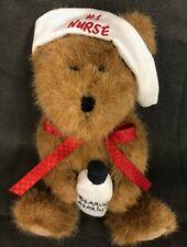 Boyds Bears Head Bean Collection Nurse Carin #1 Nurse Bearly Asprin Jointed Legs