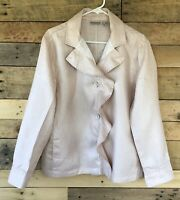 Chico's Size 3 Blush Pink Blazer Pockets Jacket Ruffled Button Front 100% Linen