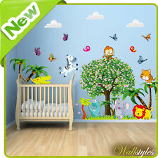 Animal Wall Stickers Dinosaur Jungle Zoo Nursery Baby Kids Room Tree Decals Art