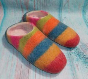 Fair Trade Felt Babouche Slippers Rainbow Hand Made Super Soft From Nepal