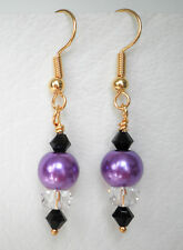 Purple 8mm glass pearl clear and black glass bead 4cm gold tone drop earrings