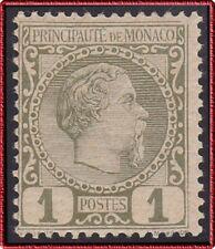 1885 MONACO N°1* Prince Charles III, 1c Olive, 1°Choix/TB, MH