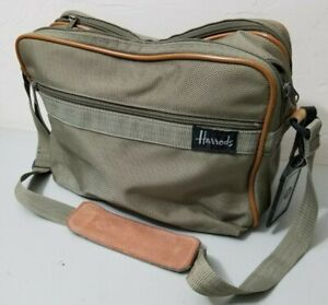 "Harrods of London Messenger Bag Tote Vintage Brown Gray 15"" *GOOD* FREE SHIPPING"