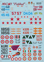 """Print Scale 72-009 1/72 scale Decal for airplane - Mig-21 """" Fishbed """" World War"""