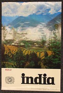 "1960s ORIGINAL VINTAGE TRAVEL POSTER ""KULU - INDIA"""