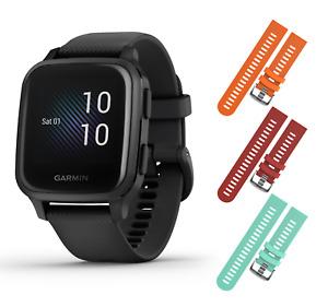 Garmin Venu Sq Music GPS Fitness Smartwatch Black/Slate w Orange/Red/Teal Straps