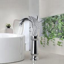 FsTall Modern Chrome Swan Faucet  Brass Basin Sink Mixer Taps Deck Mounted