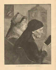 In The Church On Palm Sunday, Elderly Woman, Vintage 1893 German Antique Print
