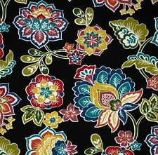 Outdoor/ Indoor ~ Upholstery ~  Gypsy Floral on Black ~ Fabric~ per half yard