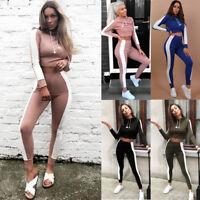Women Fashion Full Tracksuit Crop Tops + Pant Set Lounge Wear Yoga Sports Suit