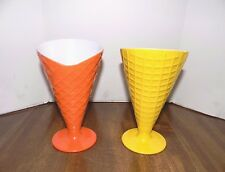 Waffle Cone-Shaped 50's Diner Style Glasses~Soda Fountain Glasses~2 Pcs Plastic