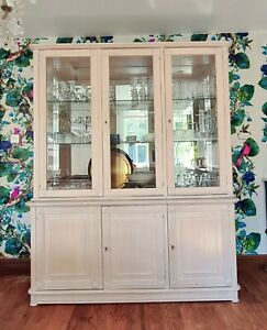 display dresser cabinet, with Mirror back and Glass doors and shelves