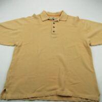 Tommy Bahama Mens Polo Shirt Mustard Short Sleeve XL Ribbed Texture Silk Blend