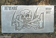 Skull Beware Halloween mold. Easy to cast reusable mould