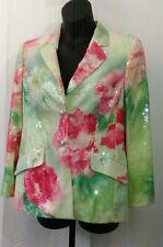 Escada Size 42 ( 12 ) Women's Floral Sequin Evening Jacket / Blazer