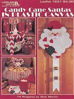 Candy Cane Santas, Leisure Arts Plastic Canvas Christmas Decor Pattern 1531