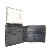 LEXIO LEATHER Mens Bifold Credit Card Wallet Black Soft Lightweight  NOS HTF!