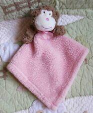 Blankets and Beyond Plush Pink Sherpa Tan Monkey Baby Girl Security Blanket EUC