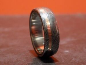 8mm Mens Damascus Steel Ring with Rose Gold Band UK Z US 12.5 Wedding Ring