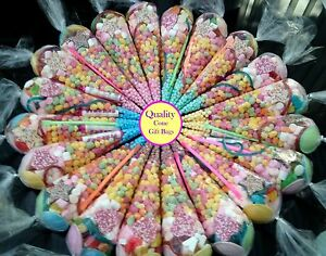 20 Pre Filled Sweet Cones Party Bags Kids Children Fast Sday Postage Free Ribbon