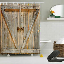 "72X72"" Rustic Wood Barn Door Bathroom Decor Fabric Shower Curtain Liner w/Hooks"
