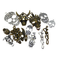 15 pcs Mixed Vintage Bronze and Silver Metal Skull Charm Pendant Craft Findings