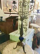 LOVELY RUSTIC BRASS METAL CANDELABRA WITH BLUE CERAMIC DETAIL