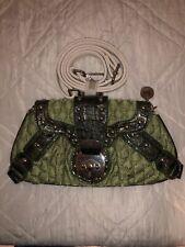 Vintage INS Faux Crocodile Fabric Bag Handbag Purse Clutch Green Rare Nicole Lee