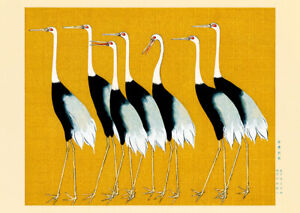 Flock of Japanese Red Crown Cranes by Ogata Korin wall art poster print