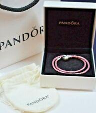 "PANDORA .925 STERLING SILVER  PINK CORD DOUBLE BRACELET 13"""