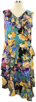 A351037 Susan Graver XL Multi Floral Liquid Knit Dress w/ Sheer Chiffon Ruffles