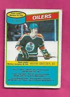 1980-81 OPC # 182 OILERS WAYNE GRETZKY UNMARKED TEAM CHECKLIST CARD (INV# C5371)