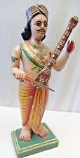 Antique Indian Art Figure Figurine Playing Violin Sarangi painted Turban Temple